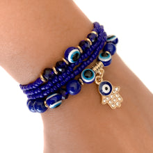 Load image into Gallery viewer, Hamsa Hand & Evil Eye Blue beads