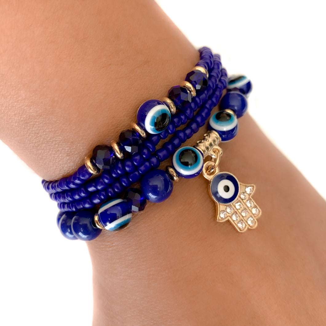 Hamsa Hand & Evil Eye Blue beads