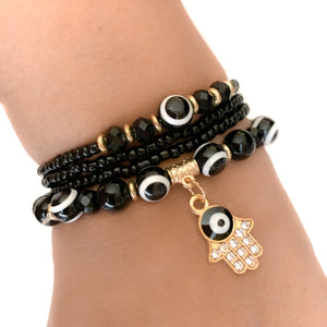 Hamsa Hand & Evil Eye Black beads