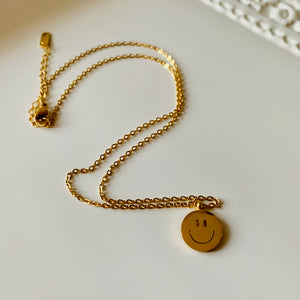 Mini Stainless Steel Happy Face Necklace