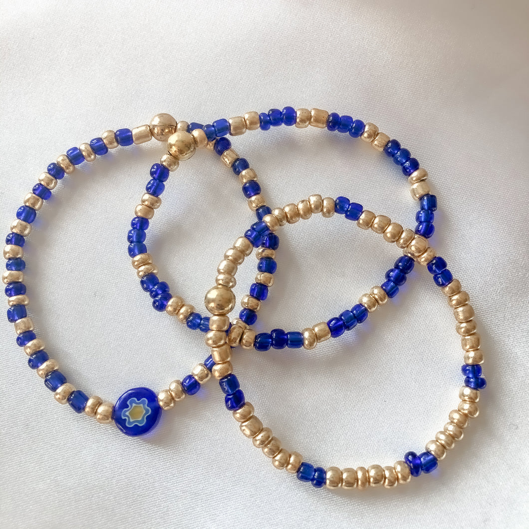 Stretchy Blue & Gold Bracelets
