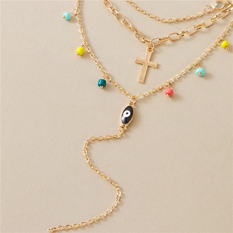 Eye & Beads Layered Necklace