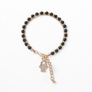 Rhinestone Hamsa Palm & Black Beaded Bracelet