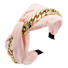 Load image into Gallery viewer, Fabric Knotted Gold Chain Headband-Women