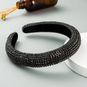 Luxury Sponge Headband with Inlaid Diamonds-Women
