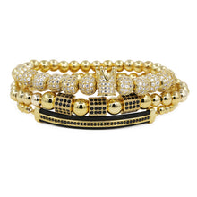 Load image into Gallery viewer, Crown King 18K  Beads Bracelet Luxury Charm Bangle