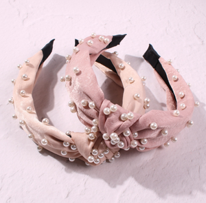 Cross pearl fabric headband-Women
