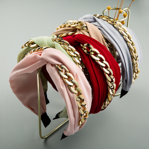 Fabric Knotted Gold Chain Headband-Women