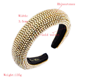 Luxury Golden Rhinestones Headband-Women