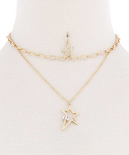 Load image into Gallery viewer, Star Set pendant & Double Chain Necklace