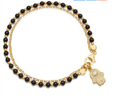 Load image into Gallery viewer, Rhinestone Hamsa Palm & Black Beaded Bracelet