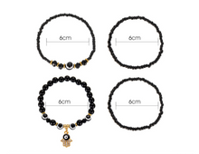 Load image into Gallery viewer, Hamsa Hand & Evil Eye Black beads