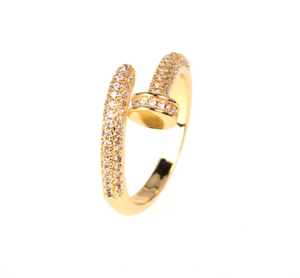 Golden Nail Ring With Zircon