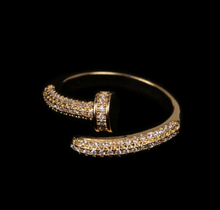 Load image into Gallery viewer, Golden Nail Ring With Zircon