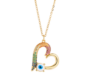 Mini Colorful Heart & Evil eye Necklace