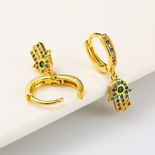 Load image into Gallery viewer, Multicolored Fatima Hand Earrings