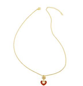 18K Arrow Necklace with Red Heart
