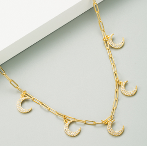 Moon Paperclip Chain Necklace
