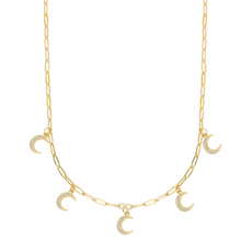 Load image into Gallery viewer, Moon Paperclip Chain Necklace