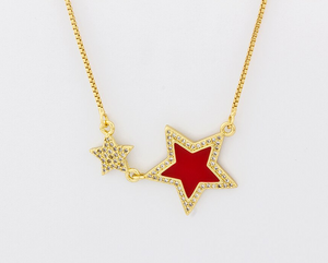 Colored Star Pendant Necklace