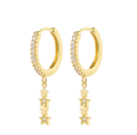 Stars Zirconia Hoop Earrings