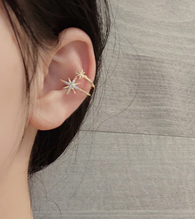 Eight Point Star Cuff Earrings