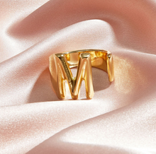 Load image into Gallery viewer, Adjustable Gold Letter Ring