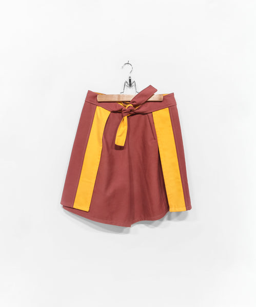Breanne Wrap Shorts - Rosewood and Lemon Canvas