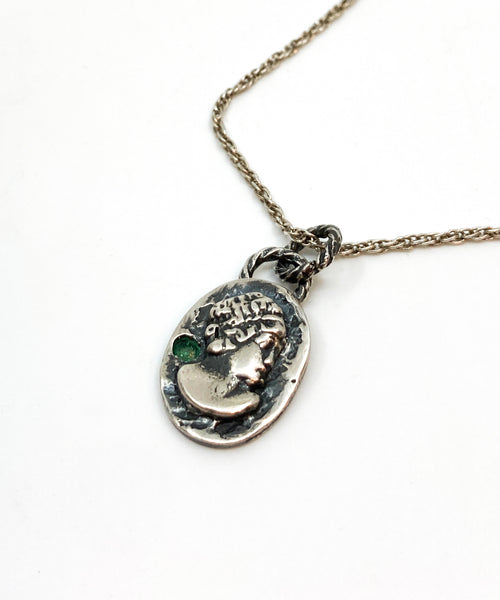 Sterling Cameo Necklace with Emerald