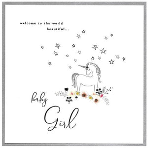Cinnamon Aitch Card : Piccadilly Baby Girl Unicorn