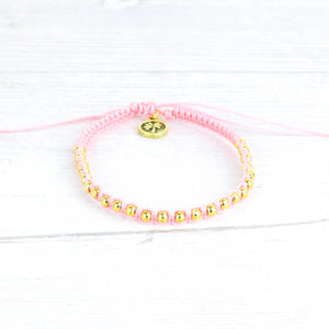 Pineapple Island Pink and Gold Braided Bracelet