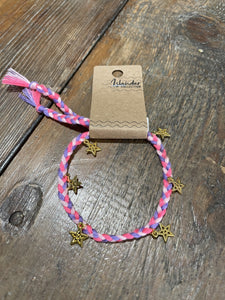 Pineapple Island Braided Pink & Purple Star Charm Bracelet