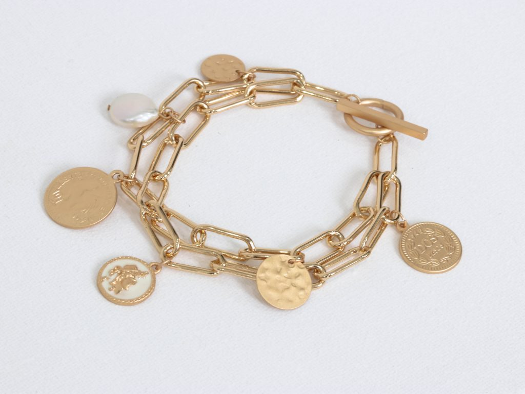 Big Metal Blanche Classic Coin Charm Bracelet (2 colours)