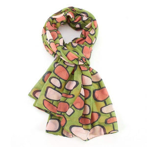 Miss Sparrow Retro Pattern Scarf -Green