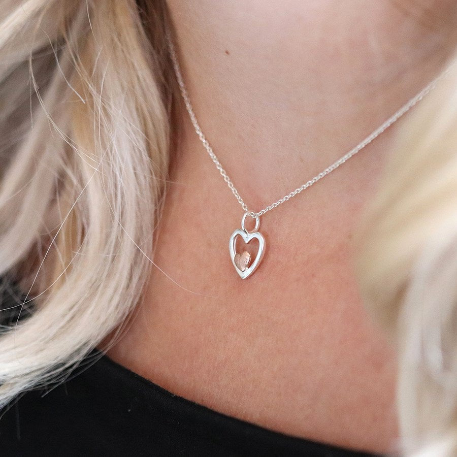 POM 2 Tone Silver/Rose Gold Heart Pendant Necklace