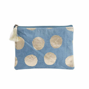 Zen Ethic Gold Detail Make Up Bag - Blue (two sizes)