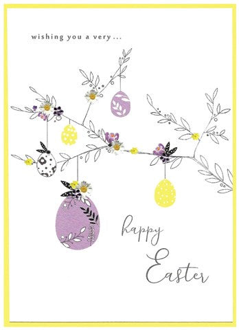 Cinnamon Aitch Card: Springtime, happy easter, branch
