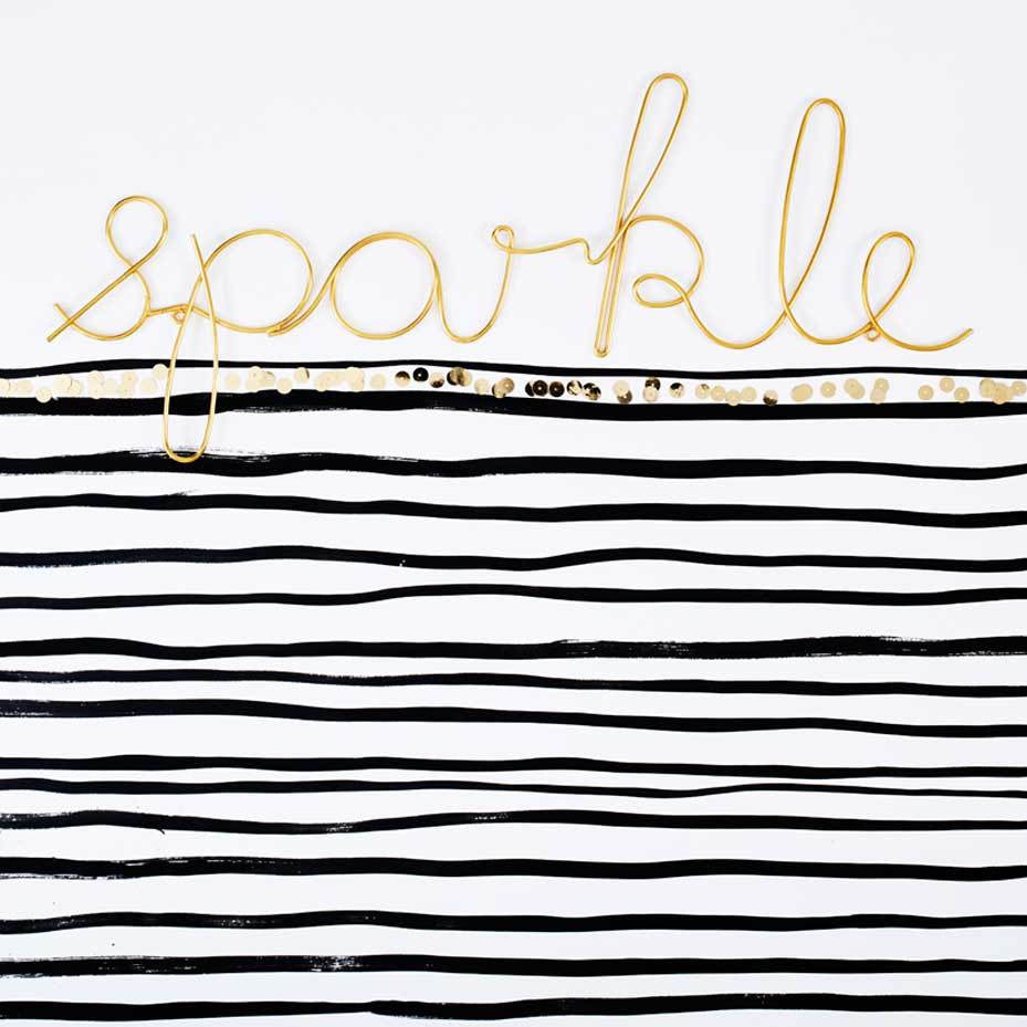 Bombay Duck 'Sparkle' Wire Word Gold