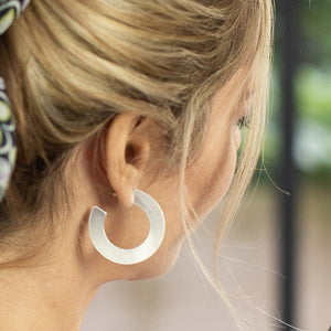 POM Scratched Silver Flat Large Hoop Earrings