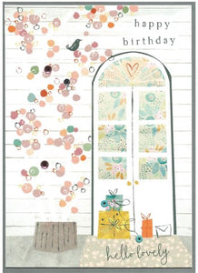 Cinnamon Aitch Card: Amelia, happy birthday, doors & trellis