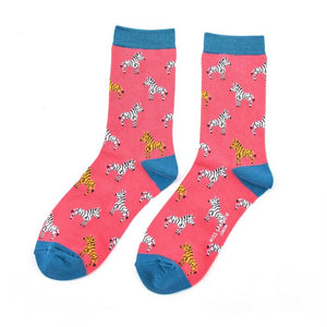 Miss Sparrow Zebras Socks Hot Pink