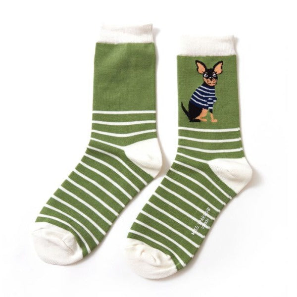 Miss Sparrow Chihuahua Stripes Socks (2 colours)