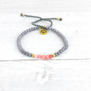 Pineapple Island Pink and Grey Bracelet