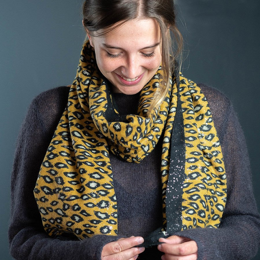 POM Mustard Animal Print Scarf with Metallic Overlay