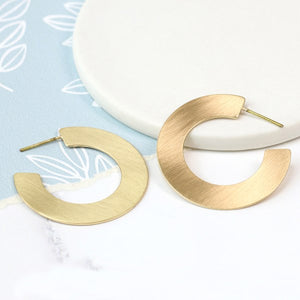 POM Scratched Gold Flat Large Hoop Earrings