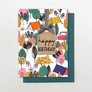Stop the Clock Happy Birthday Camping Card