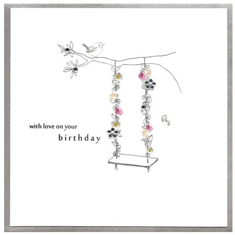 Cinnamon Aitch Card: Piccadilly, love on your birthday, swing