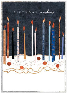 Cinnamon Aitch Card: Cobalt, birthday wishes, candles