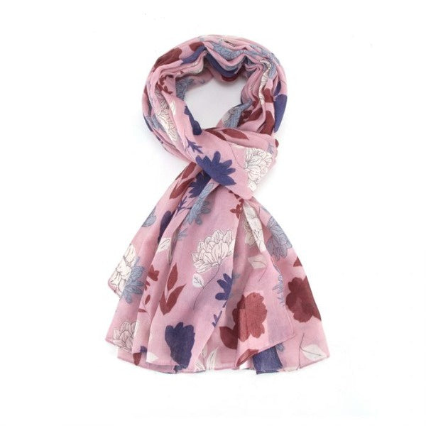 Miss Sparrow Sketched Floral Scarf -Pink