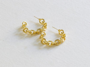 Big Metal Orla Plated Brass Chain Hoop Earrings (2 colours)